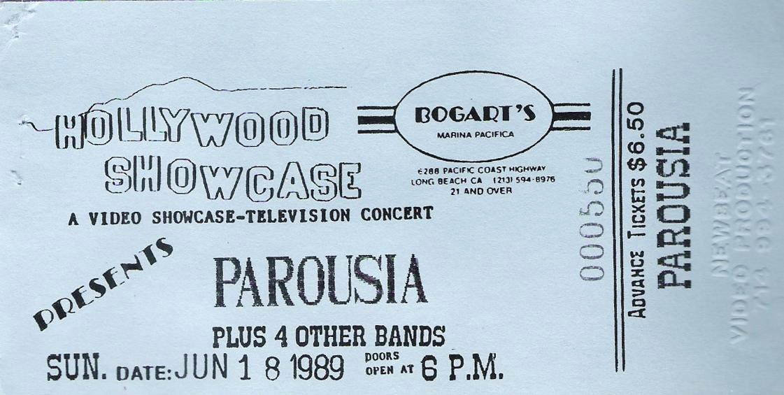 Ticket for Parousia at Bogarts. Long Beach, CA. 06.18.1989