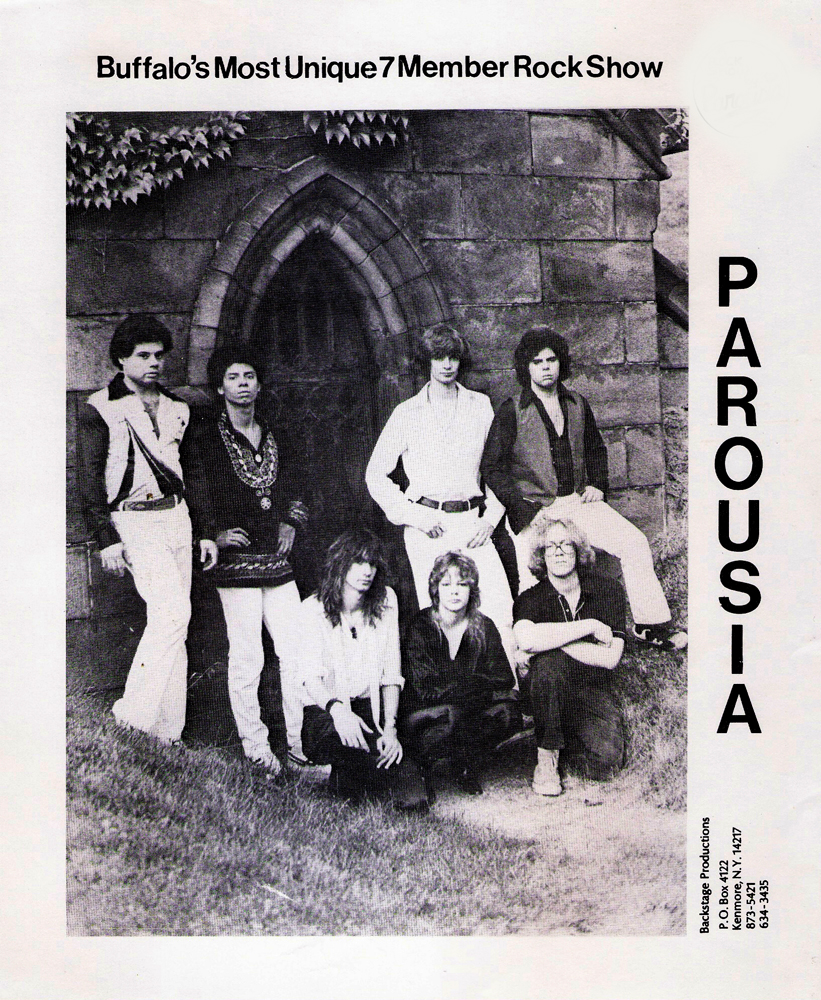 Parousia - Front: Garth Huels, Kim Watts, Eric Scheda.  Back: Barry Cannizzaro, Robert Lowden, Patt Connoly, Gerry Cannizzaro.