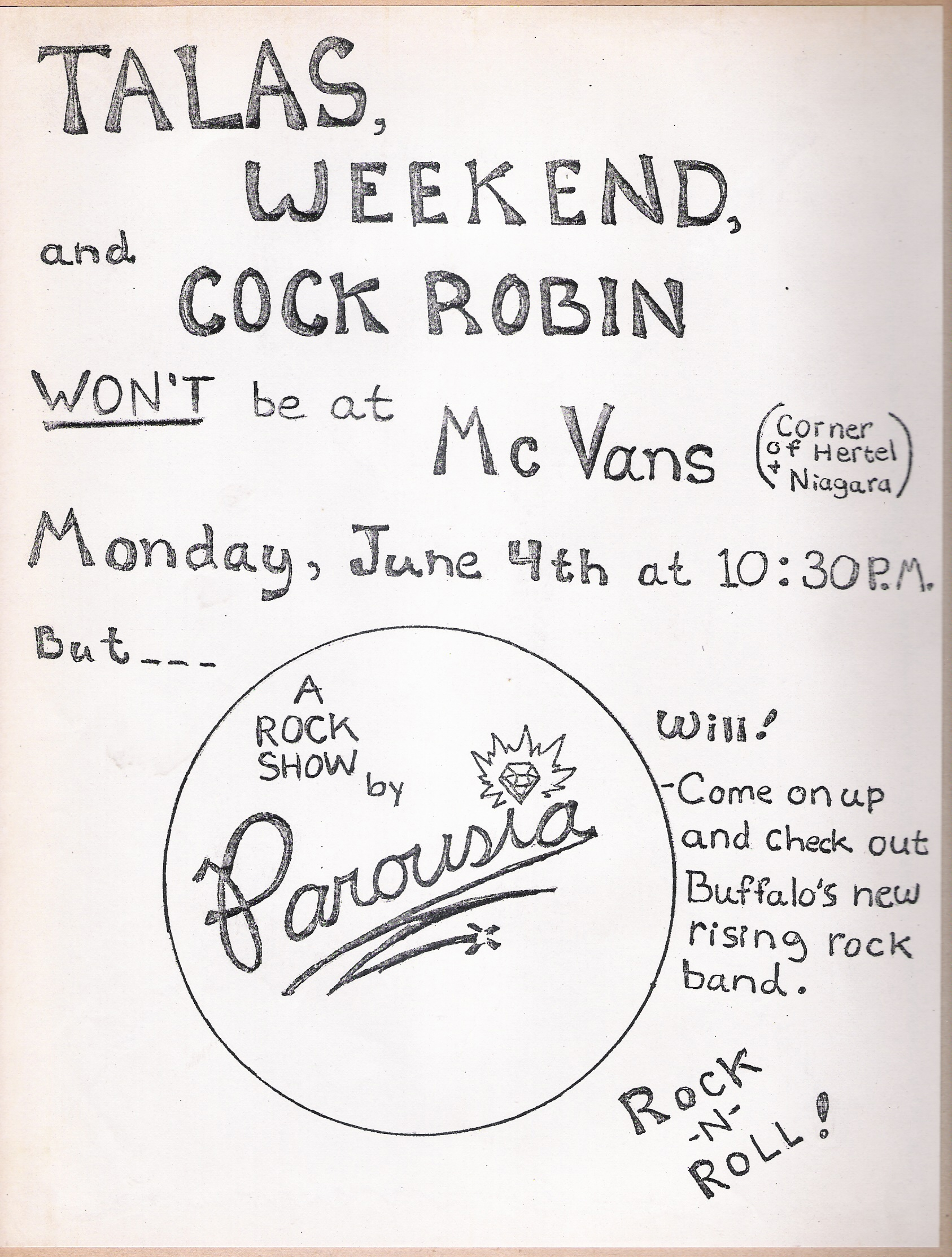 Parousia at McVans Monday June 4th, 1979