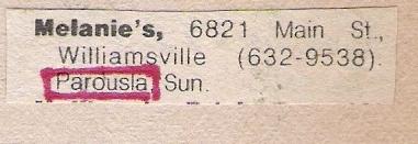 Parousia at Melanie's 09.14.1980