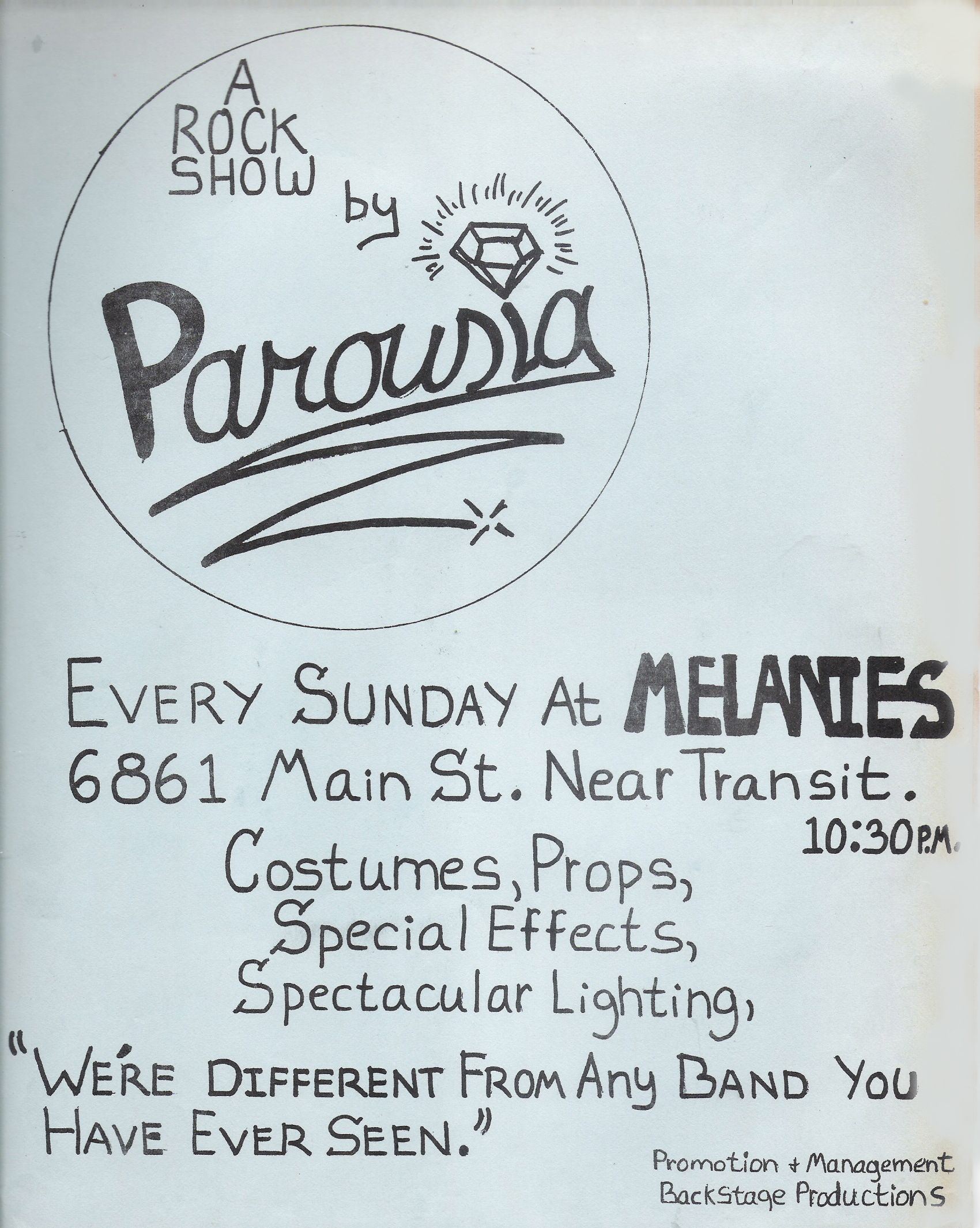 Back Stage Productions presents: PAROUSIA at Melanie's. Sunday, October 12, 1980.