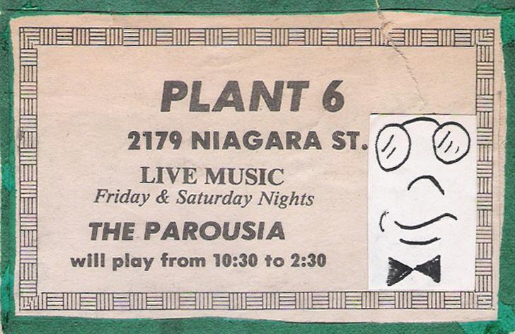 Print Advertisement for Parousia at Plant 6 July 25th & 26th, 1980