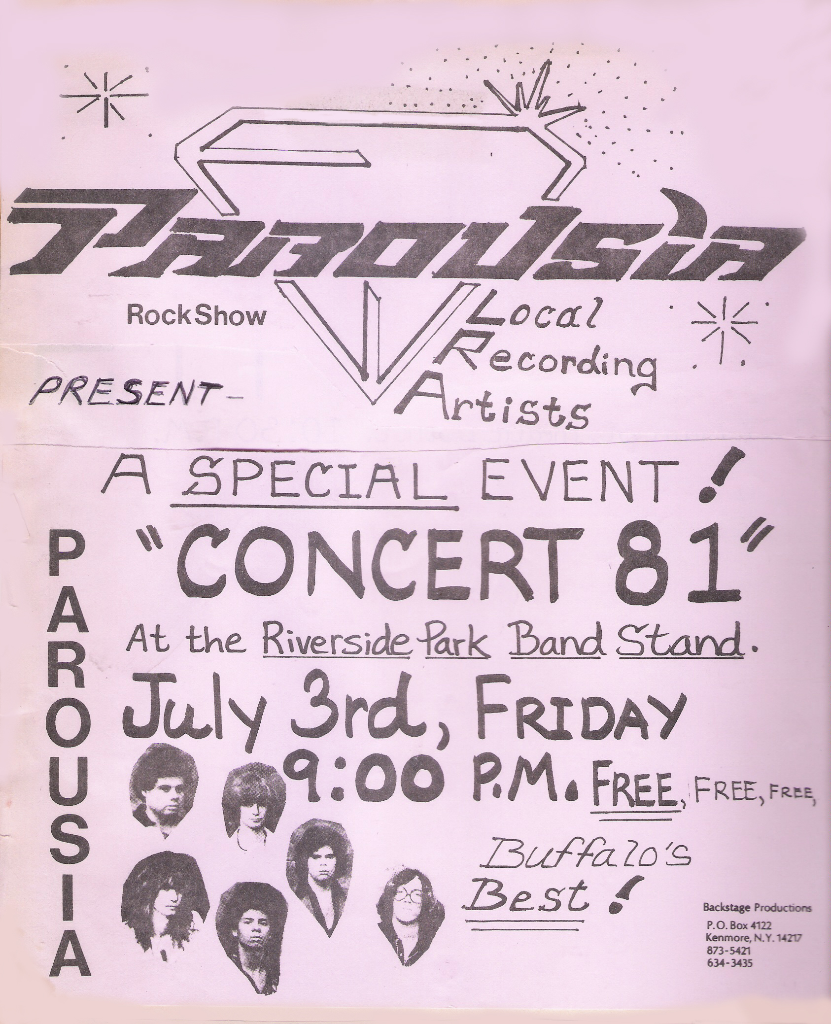 Parousia at Riverside Park - July 3rd 1981