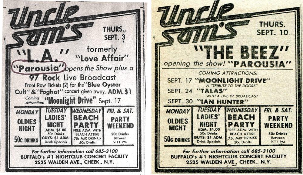 Parousia at Uncle Sam's – September 1981