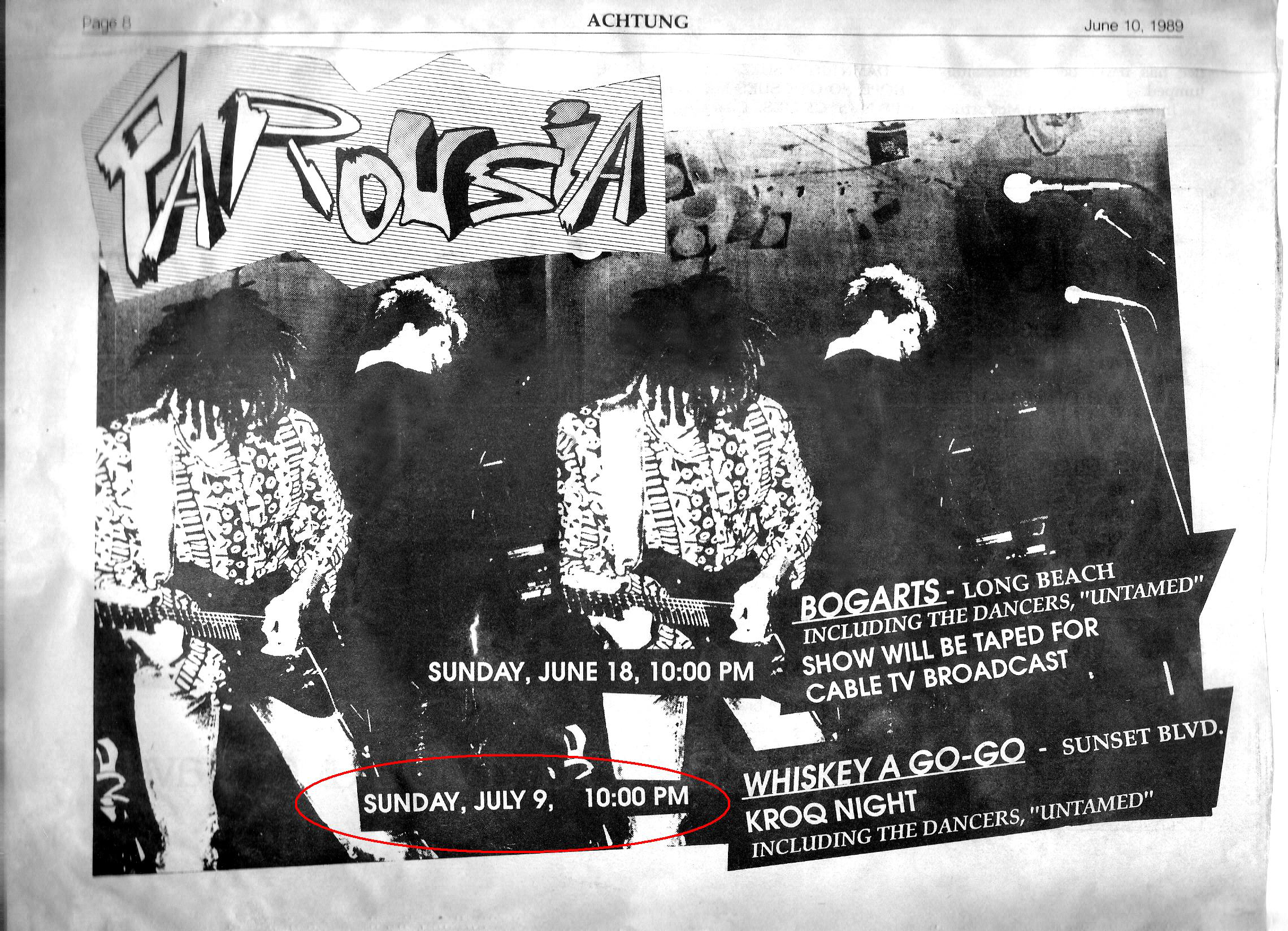 Achtung! Magazine - Parousia at the Whisky a-Go-Go Sunday July 9th, 1989
