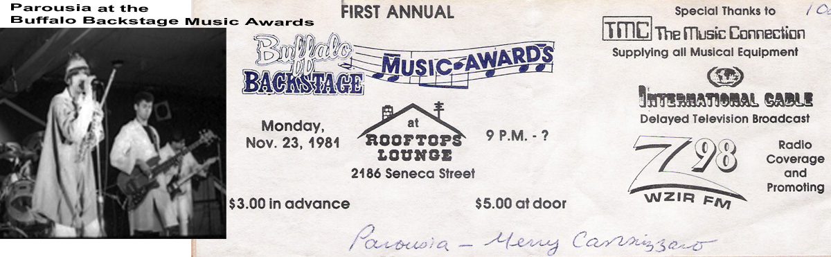 Parousia performs live at the Buffalo Backstage Music Awards November 23, 1981
