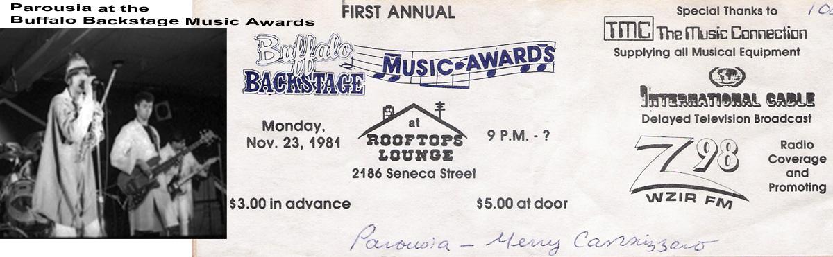 Parousia performs live at the Buffalo Backstage Music Awards November 23, 1981