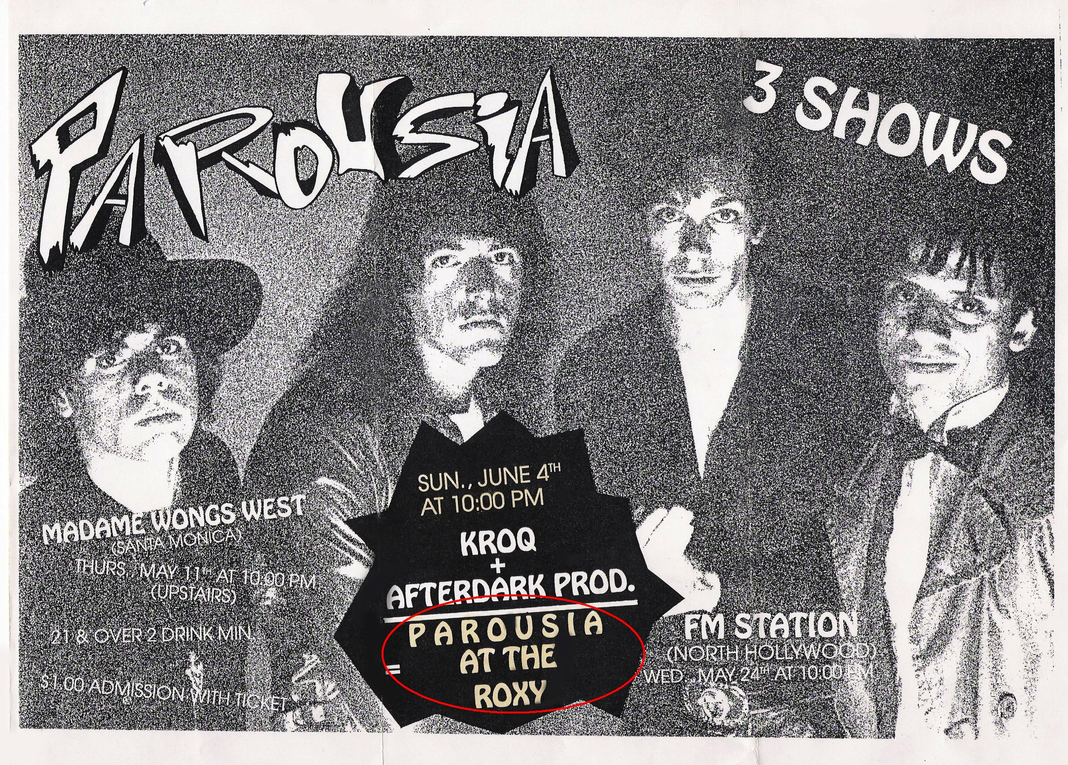 Parousia at the Roxy June 4th, 1989_v3