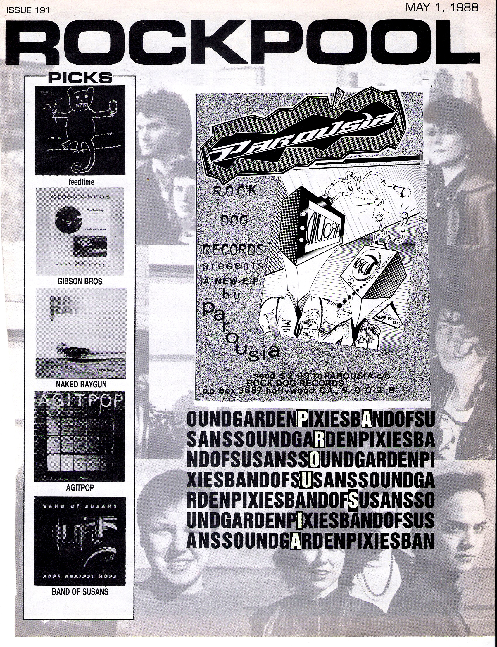 PAROUSIA featured in ROCKPOOL MAGAZINE. May 1, 1988