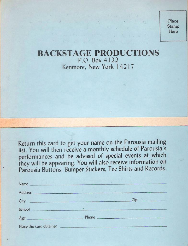 Parousia mailing-list gig card