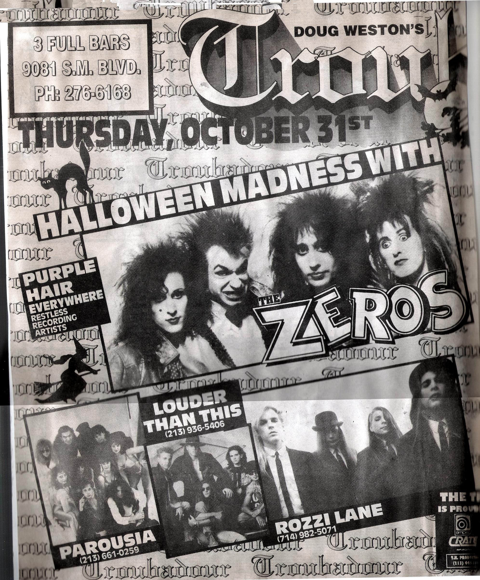 Parousia, the Zeros, Rozzi Lane and Louder Than This at the Troubadour, 10.31.1991a