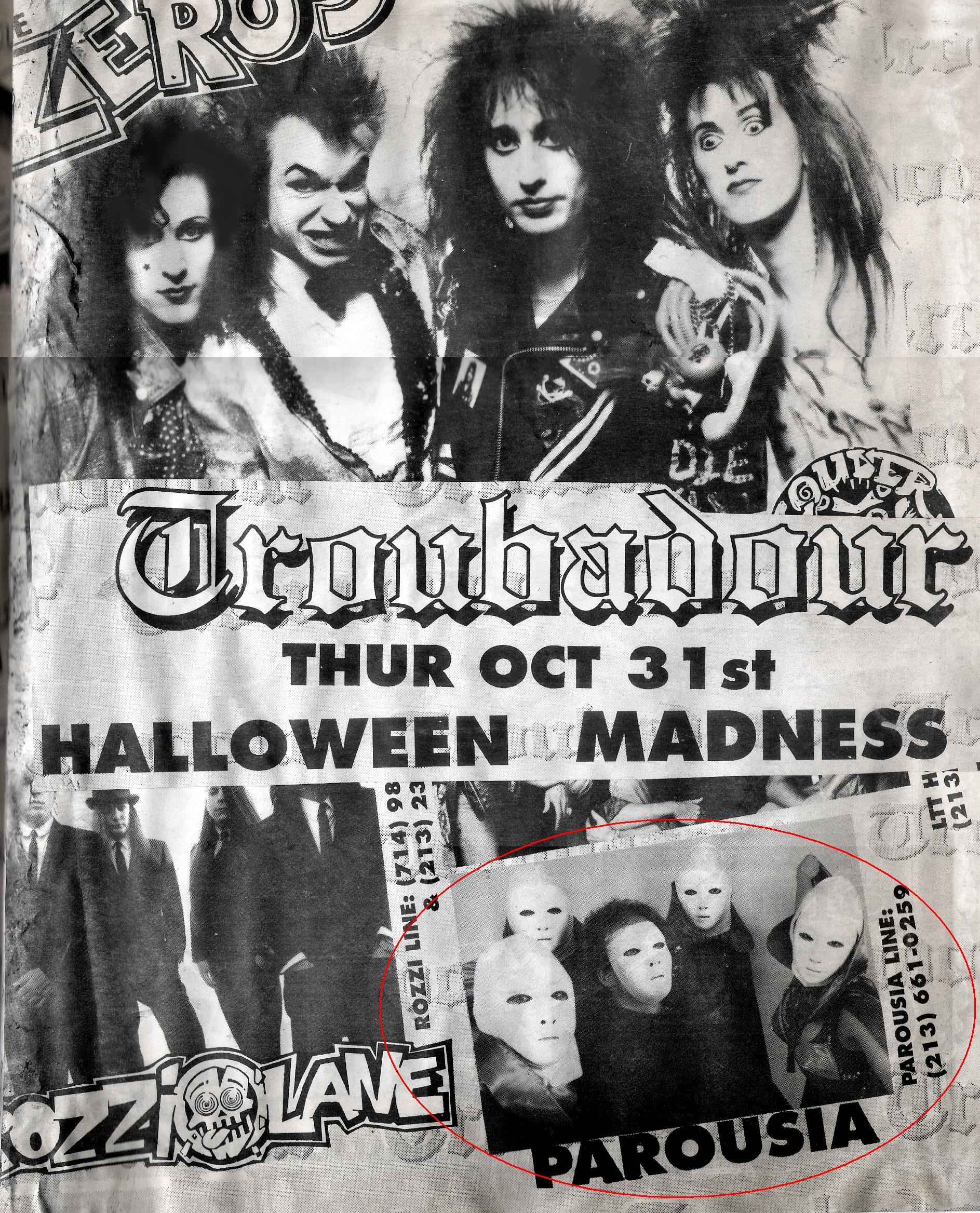 Parousia, the Zeros, Rozzi Lane and Louder Than This at the Troubadour, 10.31.1991