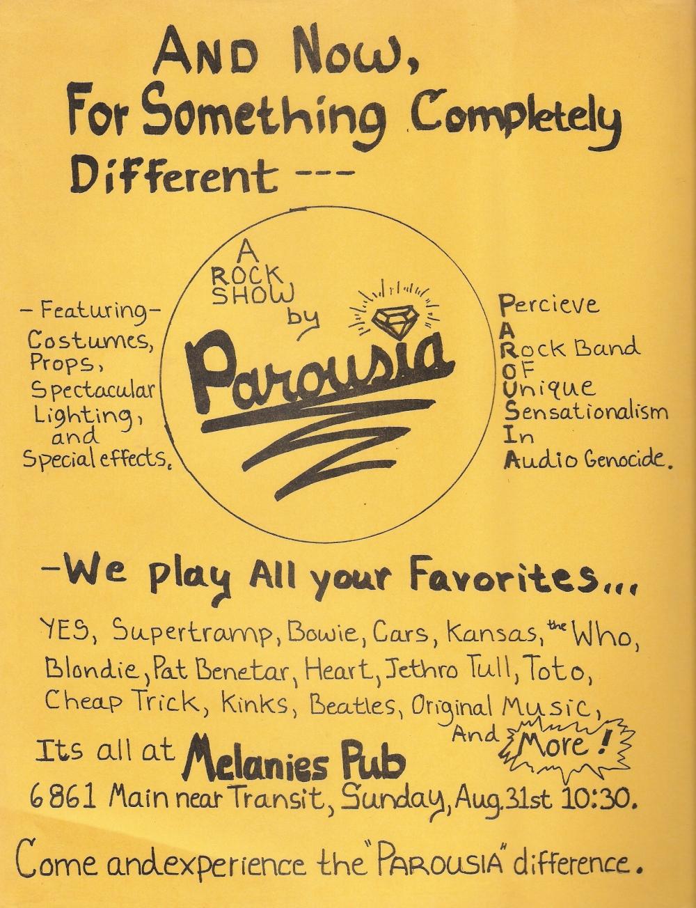 Parousia. Melanie's Flyer 08.31.1980