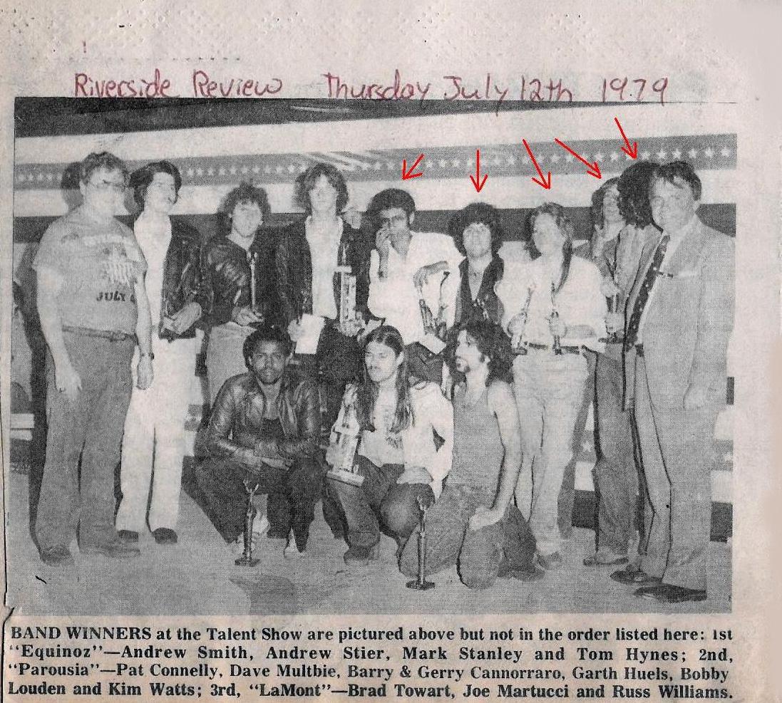 Parousia - Riverside Review photo. Riverside Park Talent Competition Winners 1979