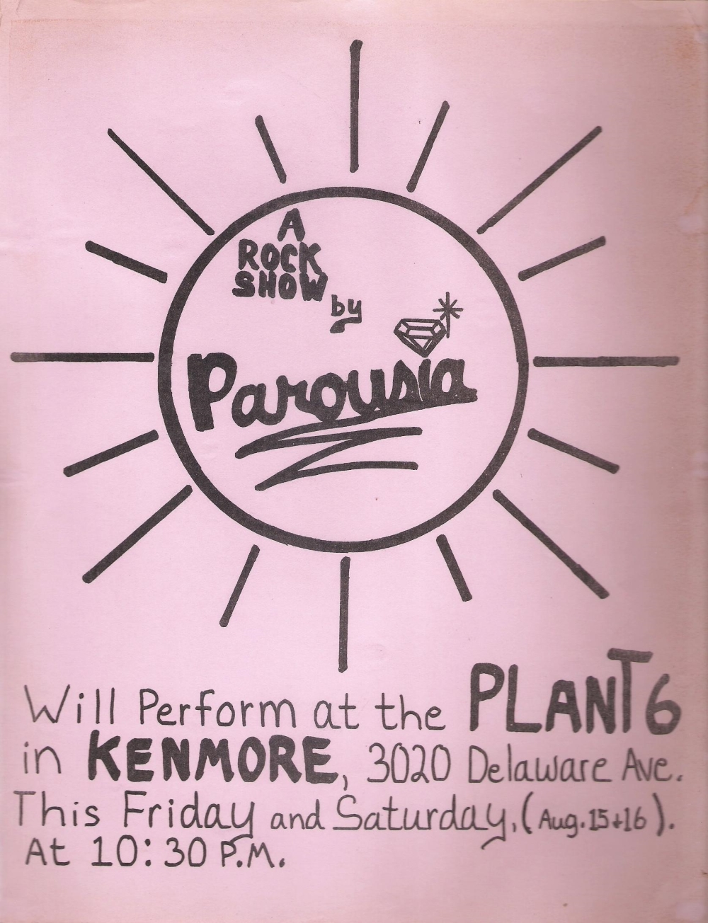 Band flyer - PAROUSIA at the Plant 6 – August 16 and 16, 1980