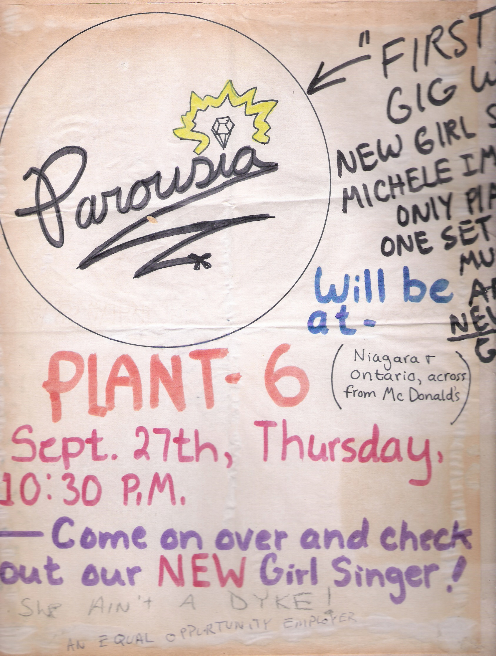 Parousia Flyer for Plant 6 Show at 2179 Niagara St. on 09/27/79
