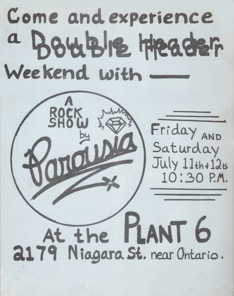 Band Flyer: PAROUSIA at the Plant-6, Friday/Saturday July 11 and 12, 1980