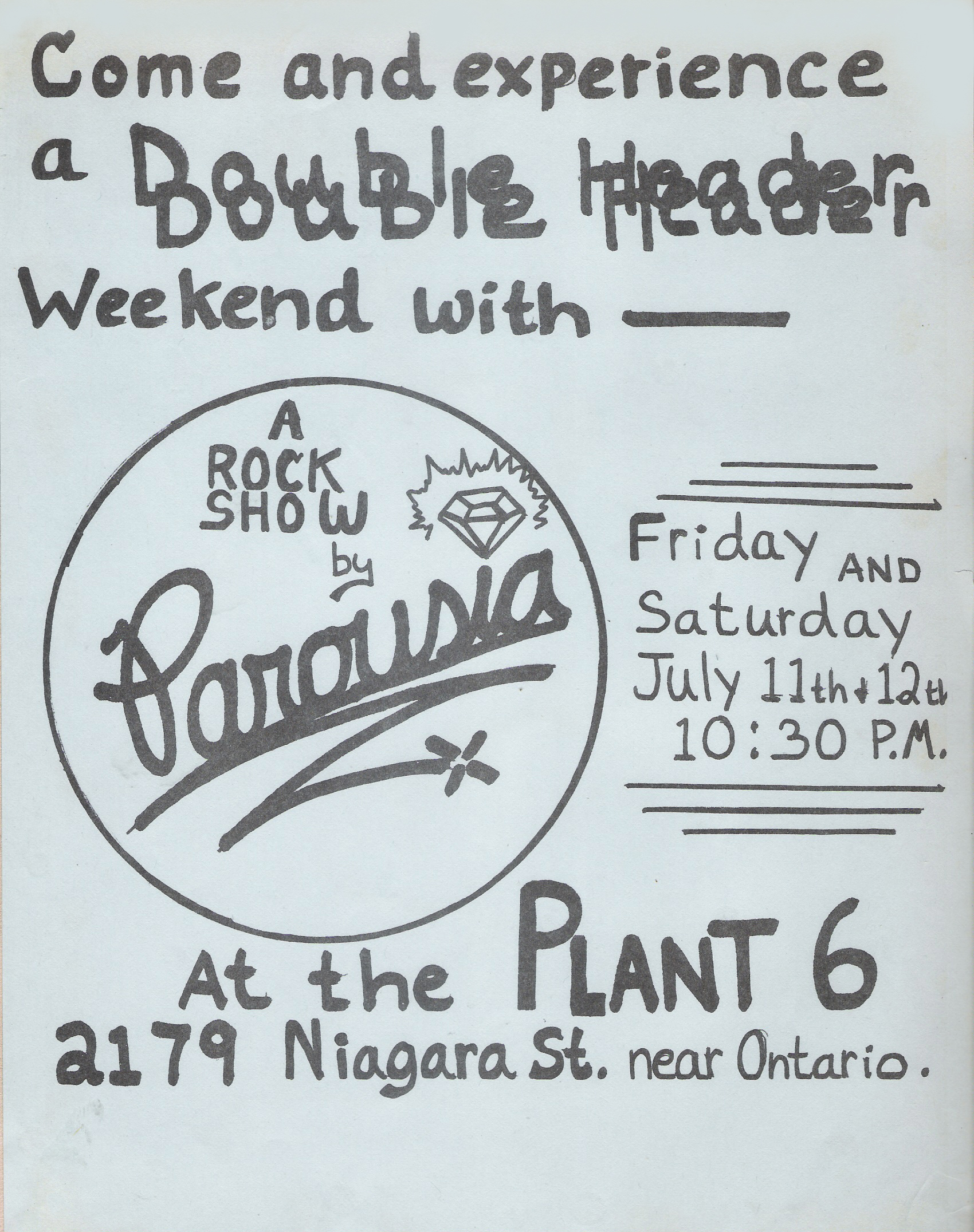 Parousia Flyer - Plant 6, (Niagara Street) July 11th & 12th 1980