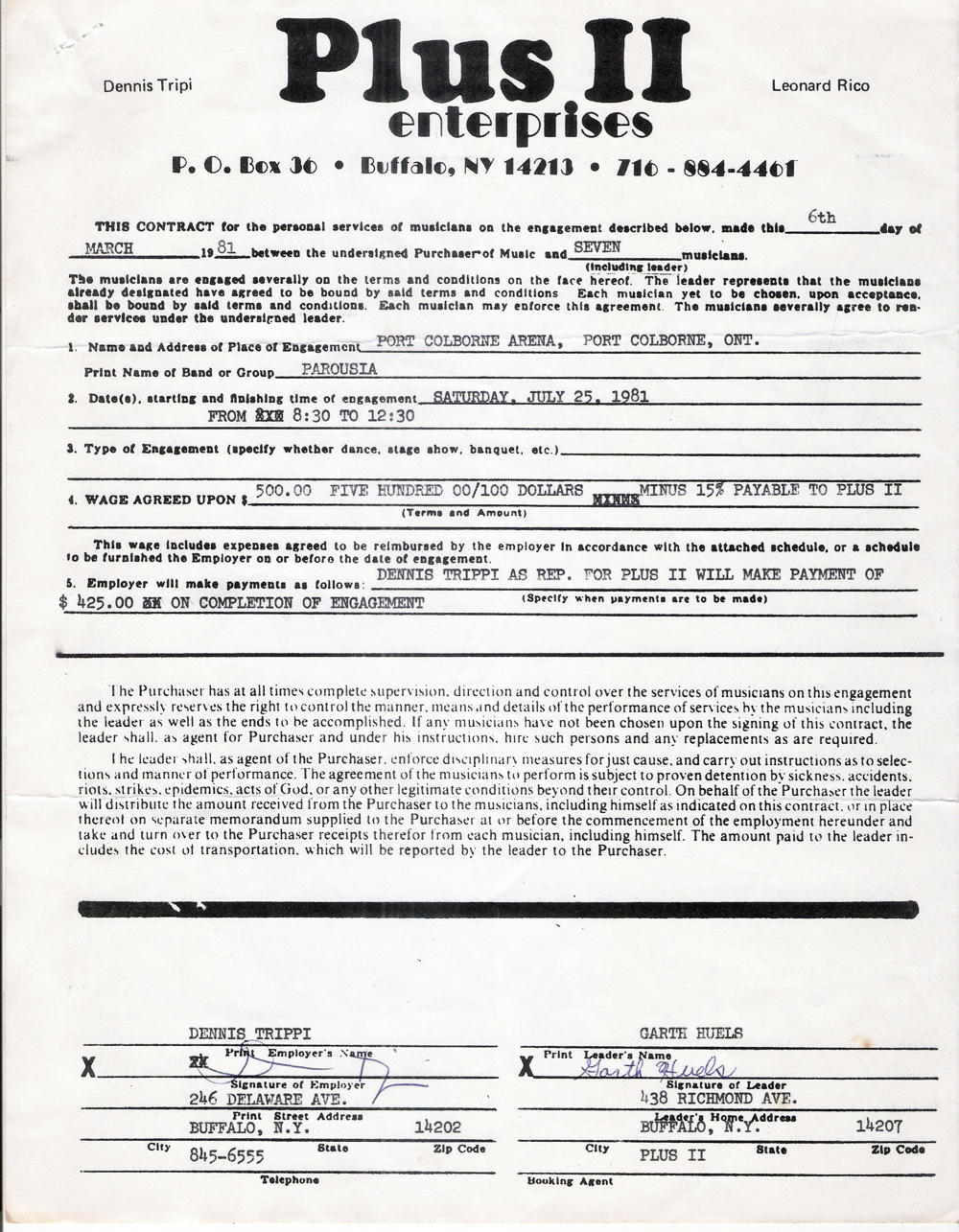 Plus II contract - Original Contract Garth Huels March 1981