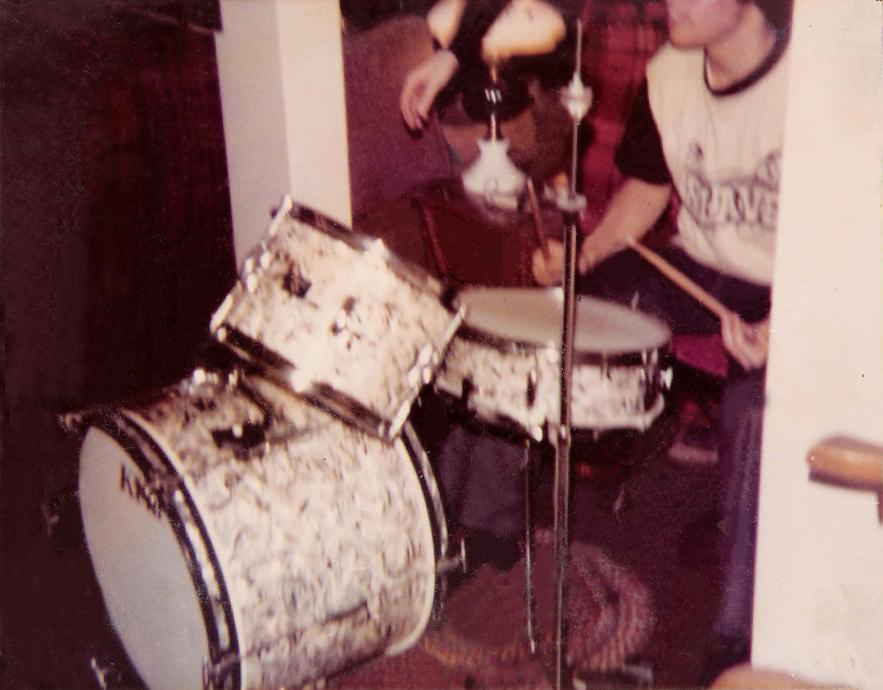 Gerry banging on the drums at Mike Newell's house Dec 17 1975