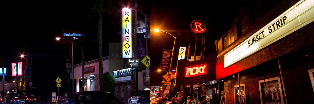 The ROXY Theater and the RAINBOW room on Sunset blvd, Hollywood, CA