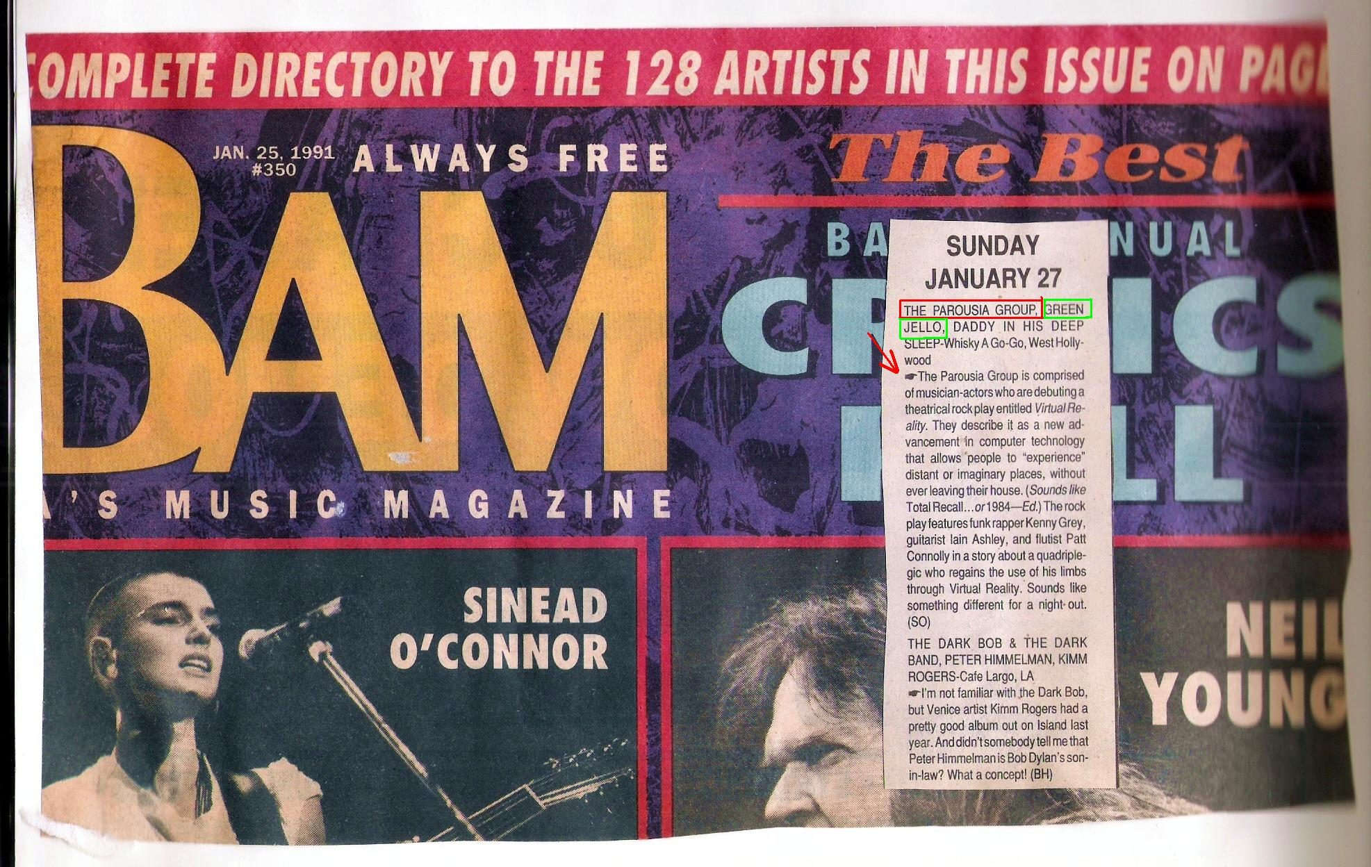 BAM MAGAZINE band Listing - January 1991