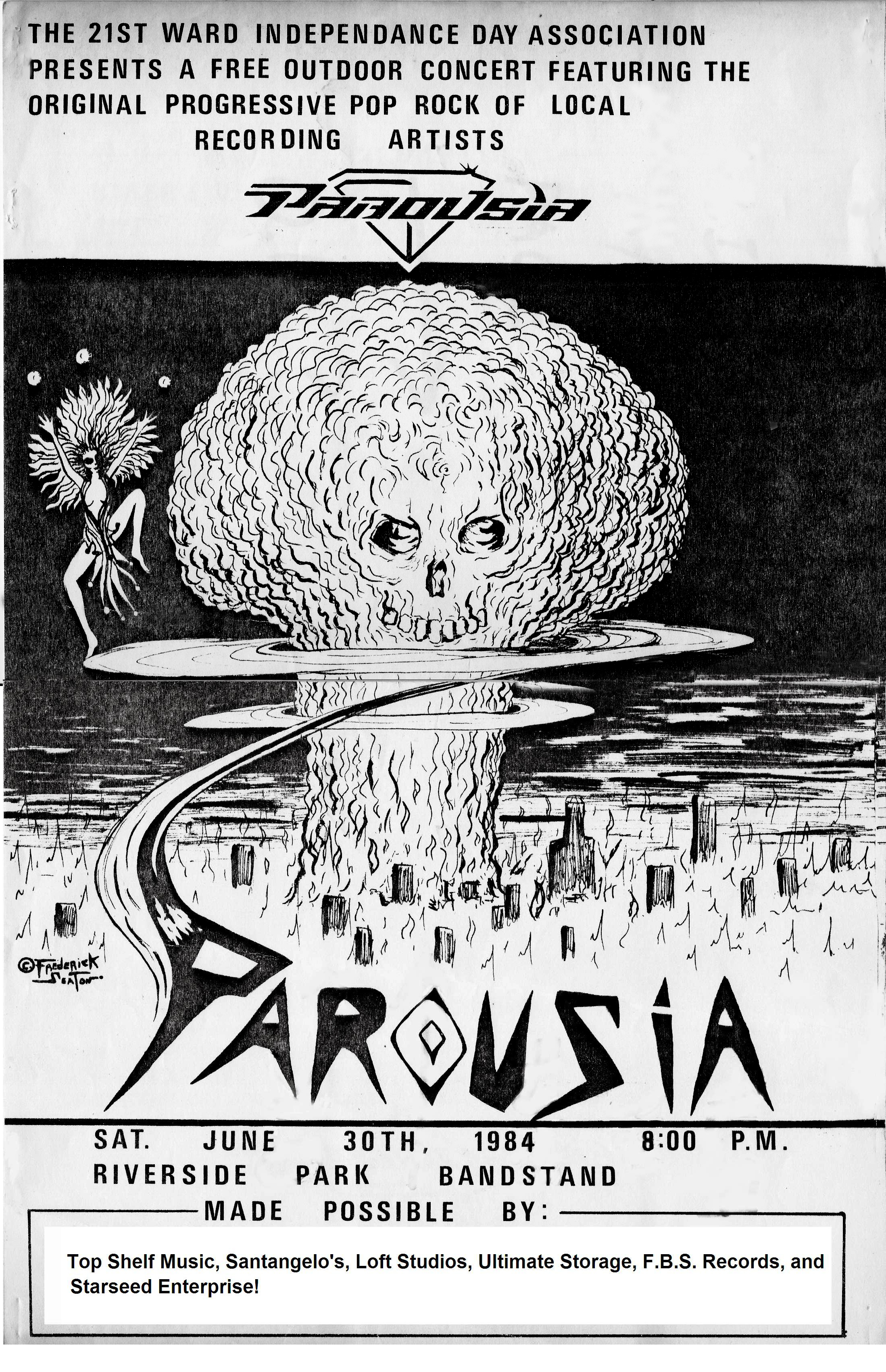 Parousia at Riverside Park, June 30th 1984 - Poster by Frederick Seaton