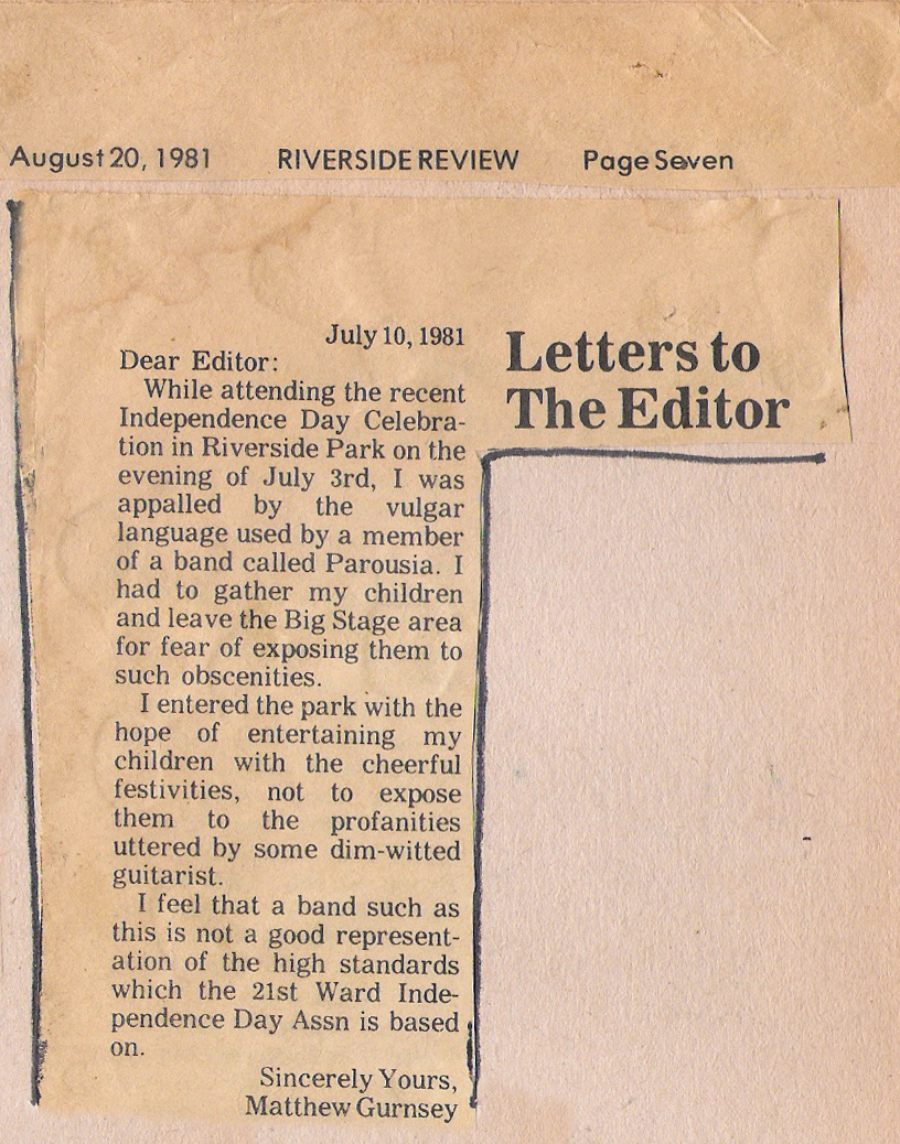 Riverside Review. Parousia show review. July 1981