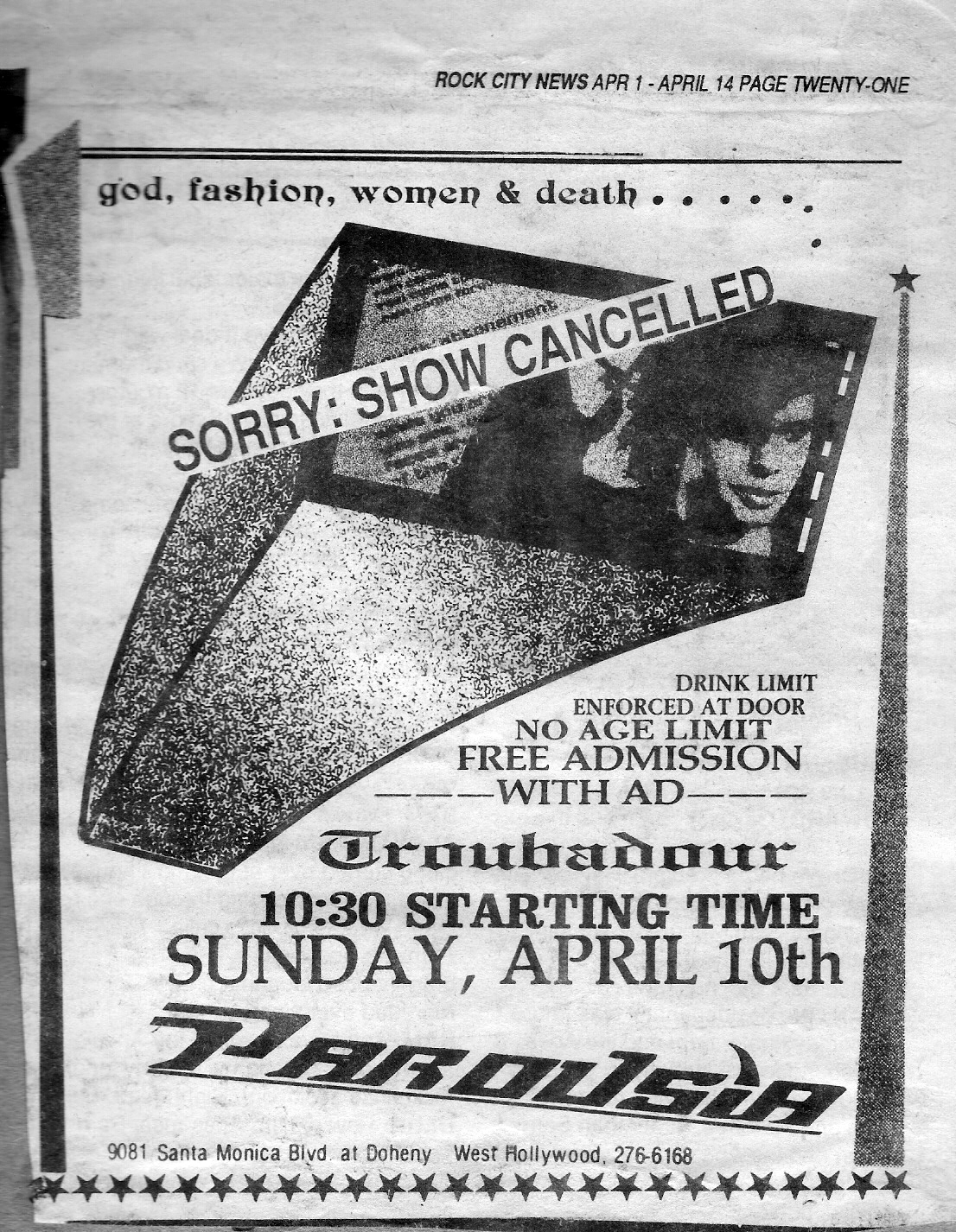 Rock City News cancellation ad - April 01 – April 14 1988