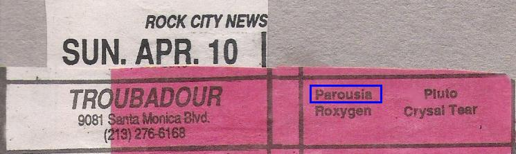 Rock City Band listing- Sun April 10, 1988