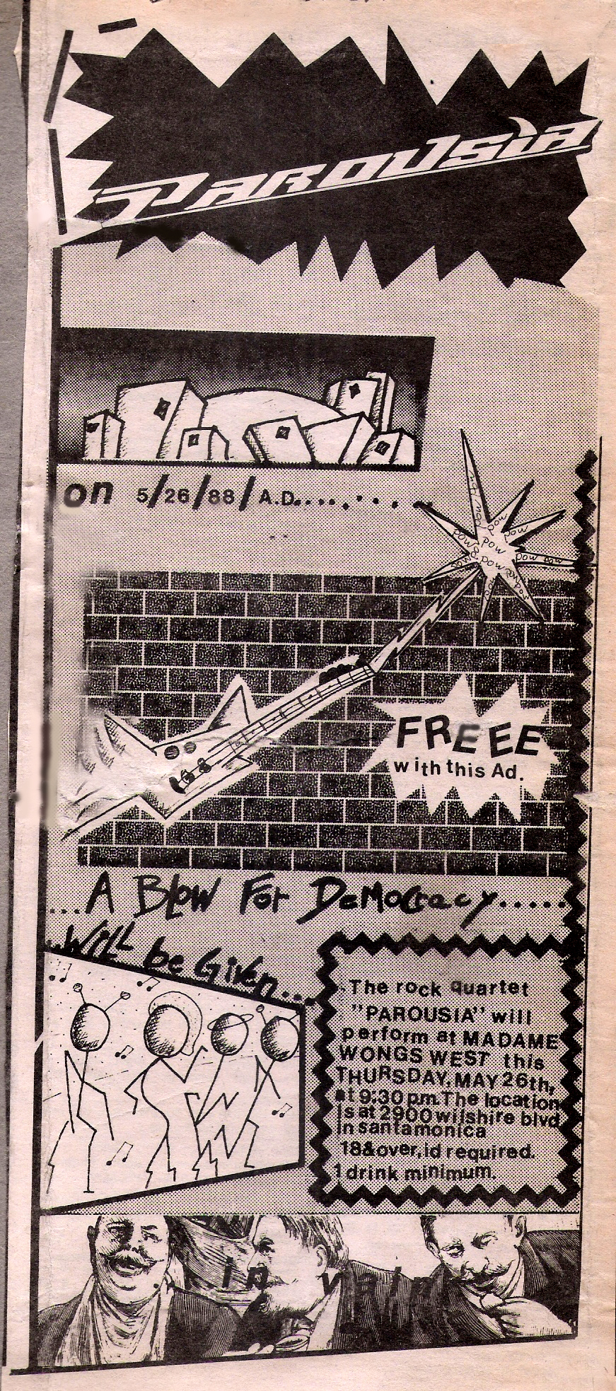 Rock City News Ad designed by R. Lowden - Madame Wong's West - May 26, 1988