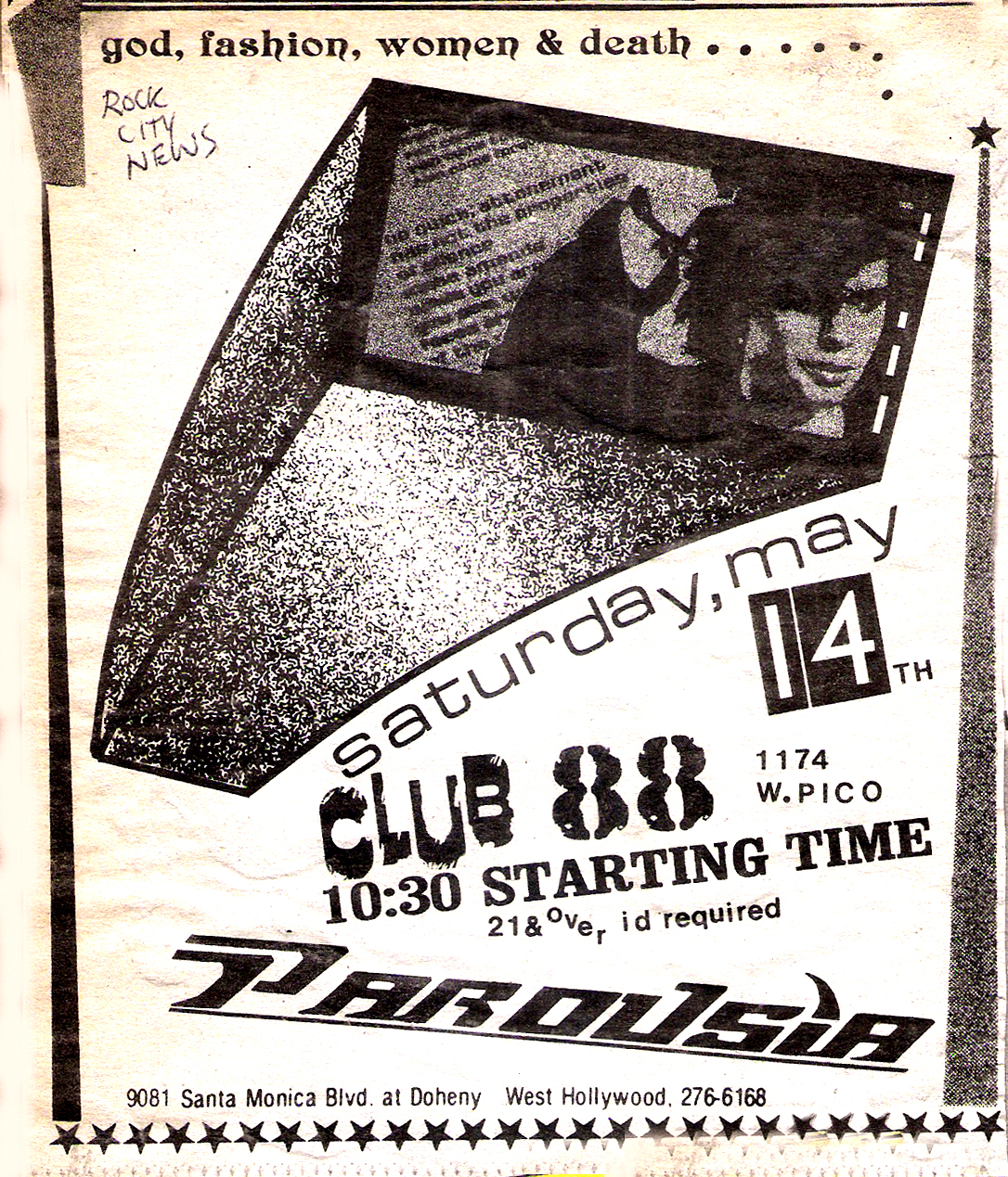 Rock City News - Parousia debut at Club 88, May 14th, 1988