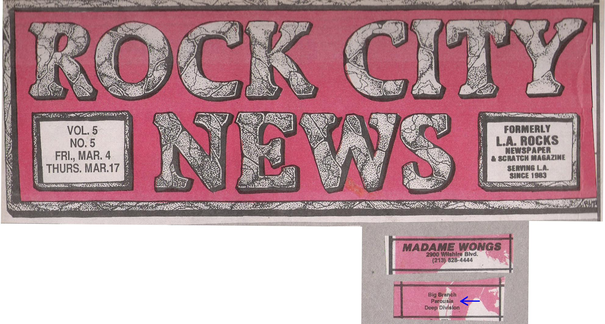 Rock City News MArch 4th, 1988