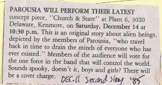 Announcement in Second Story Magazine - Church & State' Dec. 11, 1985