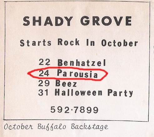 Parousia at the Shady Grove - 10.24.1981