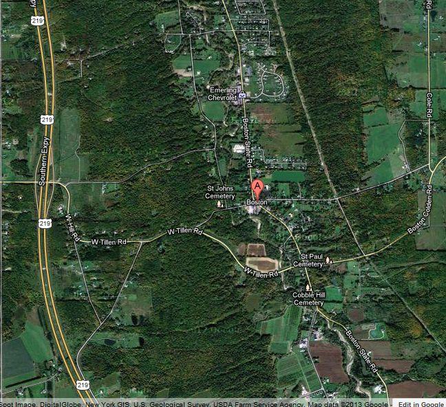 Location of the Shady Grove, Old Rte.219, Boston, NY
