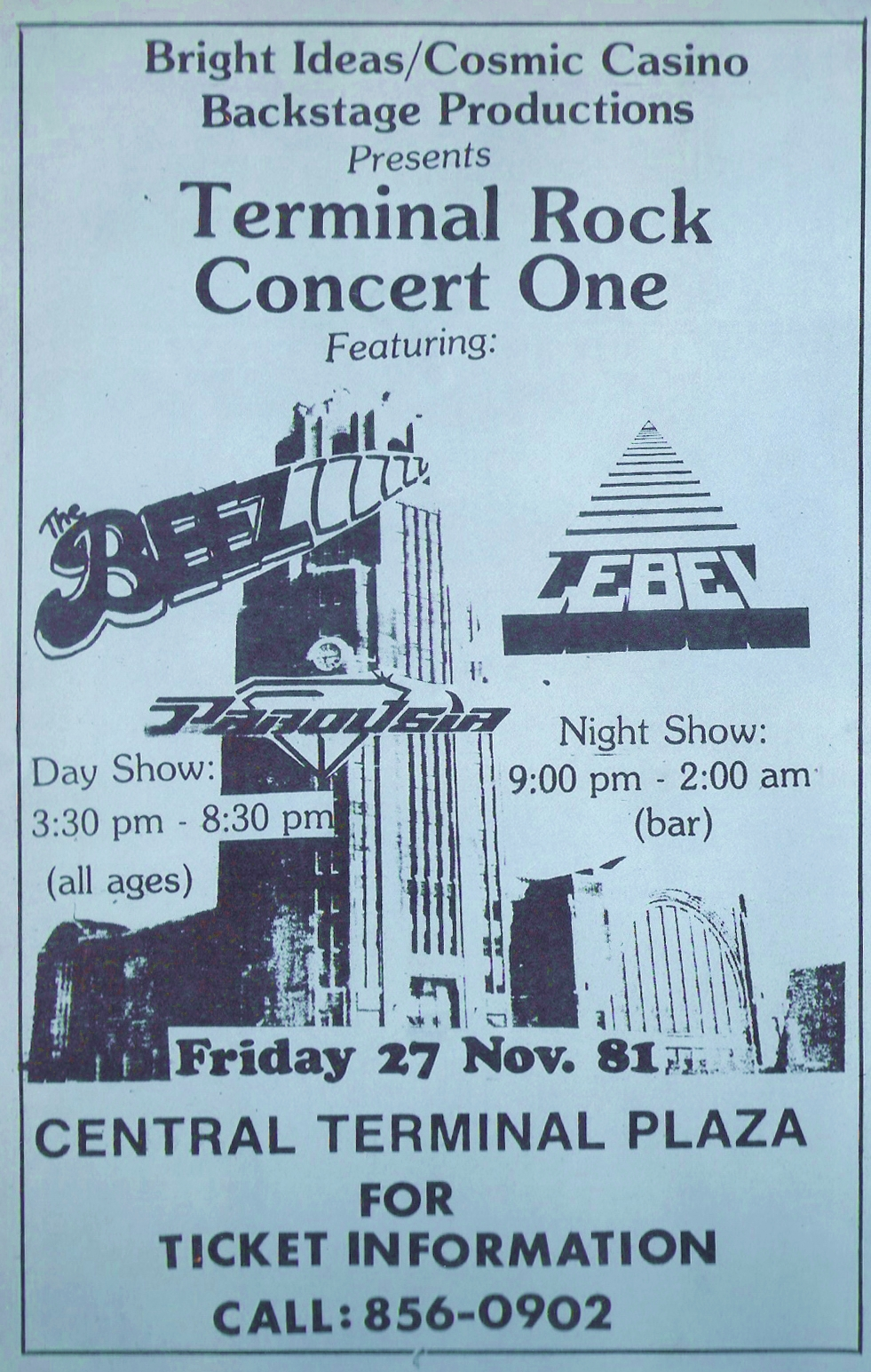 Flyer for Terminal Rock Concert One - 11.27.1981