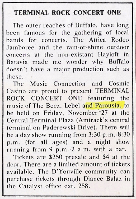 Promotional Press Release for the Terminal Rock Concert One