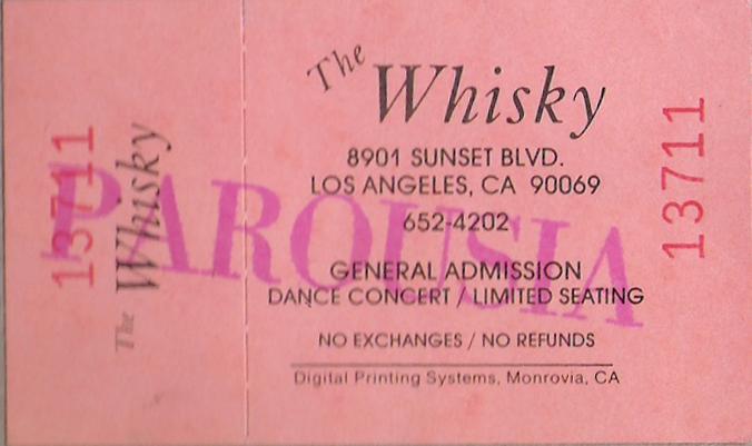Ticket - Whisky a go-go November 20th, 1988