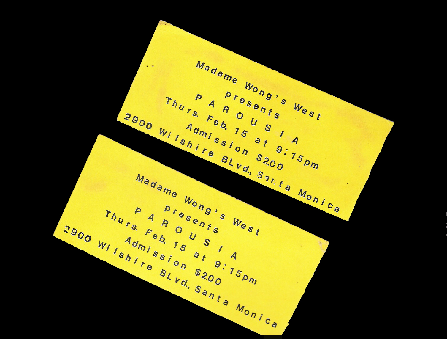 Tickets to Madame Wong's West 02.15.1990