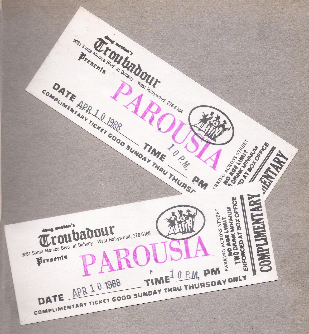 Tickets - Troubadour Sunday April 10, 1988