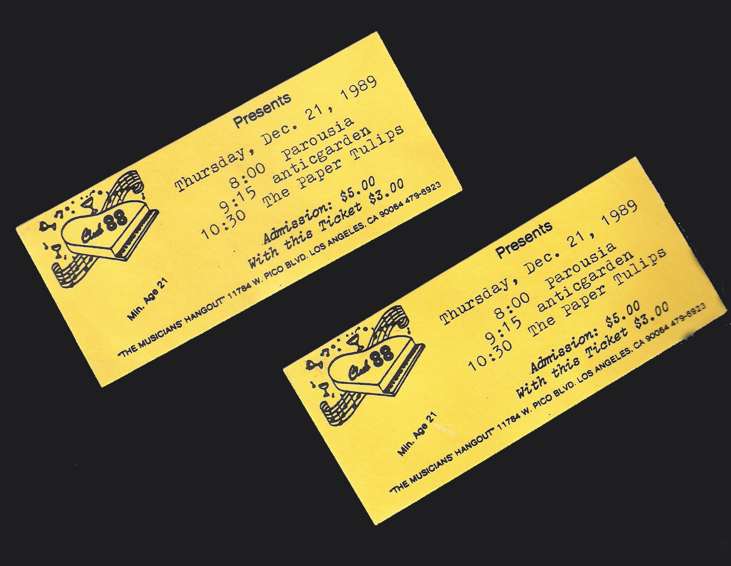 Tickets to Club 88 - December 21, 1989