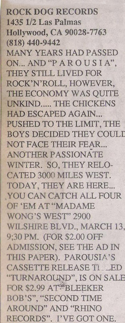 UCLA Daily Bruin  Madame Wong's West March 4th 1988