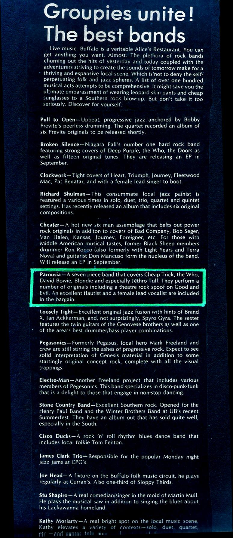 University Of Buffalo's 'Band Survival Guide' Sept.1980