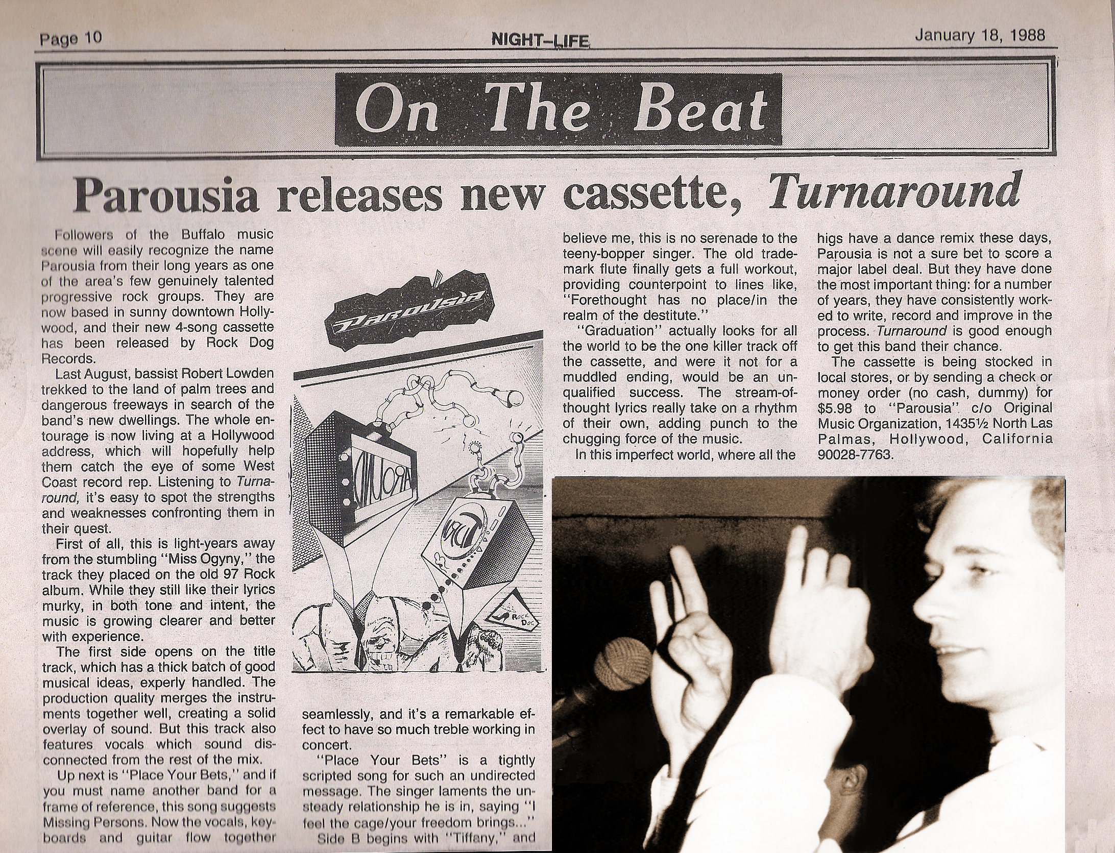 January 1988 – Night Life review of Parousia's Turnaround EP