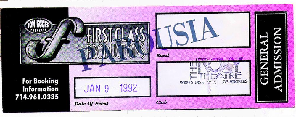 Roxy Admission ticket January 9, 1992