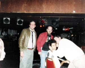 William & Jeff Burr (producers) with Robert Lowden and friend in red jacket 1989
