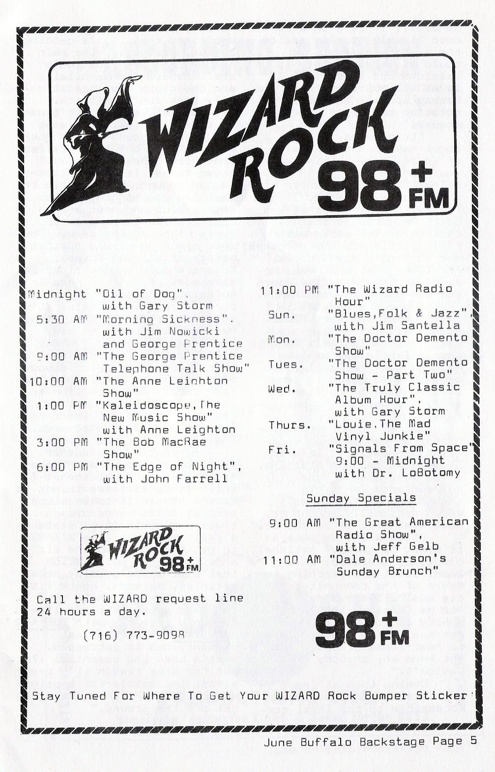 Wizard Radio ad Buffalo Backstage June1981