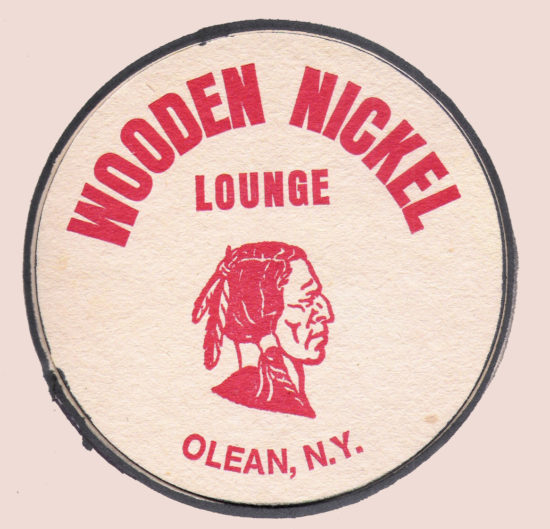 Original Wooden Nickel Cardboard Drink Coaster November 1981.