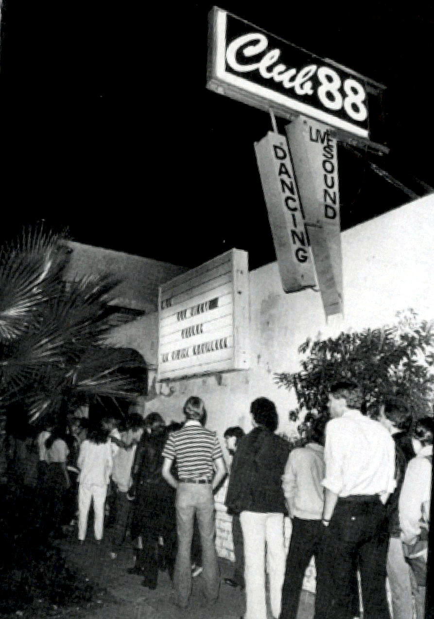 The eager audience lines up at Club 88,
